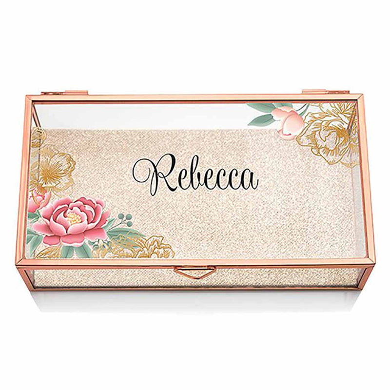 Modern Floral Personalized Glass Jewelry Box With Rose Gold