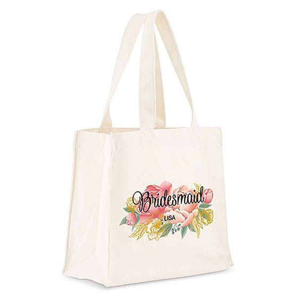 Modern Floral Personalized White Canvas Tote Bag-Tote Bags-Here Comes The Bling™