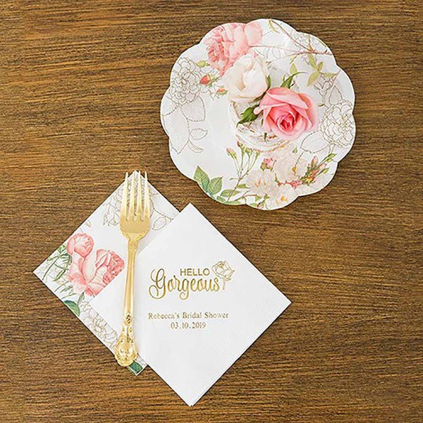 Modern Floral Pink Rose Floral Print Paper Napkins (Pack of 40)-Napkins-Here Comes The Bling™