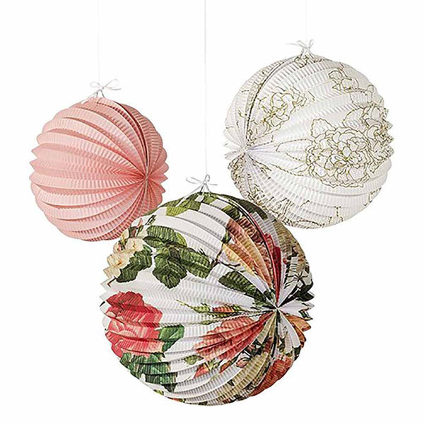 Modern Floral Print Paper Lanterns Assortment-Decor-Hanging-Here Comes The Bling™