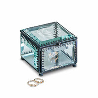 """Monogram Gem"" Etched Personalized Vintage Inspired Glass Jewelry Box-Jewelry Box-Here Comes The Bling™"