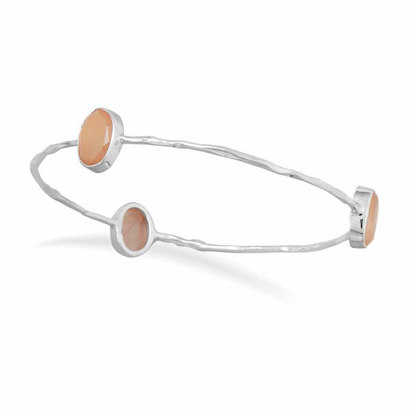 Moonstone Hammered Bangle Bracelet-Bracelets-Here Comes The Bling™