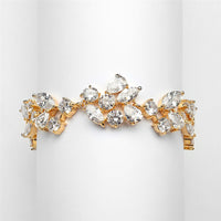 Mosaic Cubic Zirconia Gold Statement Bracelet-Bracelets-Here Comes The Bling™