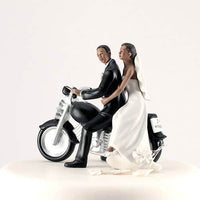 """Motorcycle Get Away!"" Cake Topper with a Dark Skin Tone (Select From 7 Hair Colors)-Cake Toppers-Here Comes The Bling™"