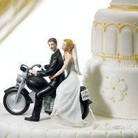 """Motorcycle Get Away!"" Cake Topper with Fair Skin Tone(Select From 7 Hair Colors)-Cake Toppers-Here Comes The Bling™"
