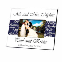 Mr. and Mrs. Navy Blue Picture Frame-Frames-Here Comes The Bling™