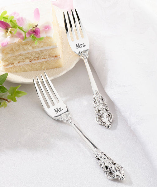 Mr. and Mrs. Silver Forks Set-Flatware-Here Comes The Bling™