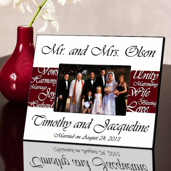 Mr. and Mrs. Wine Picture Frame-Frames-Here Comes The Bling™