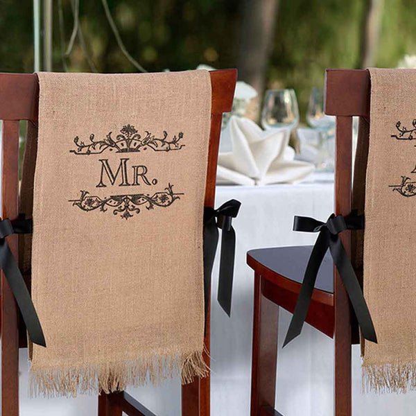 """Mr. & Mrs."" Burlap Chair Covers-Decor-Chairs-Here Comes The Bling™"