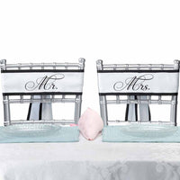 """ Mr. & Mrs."" Classic Black and White Chair Sashes-Decor-Chairs-Here Comes The Bling™"