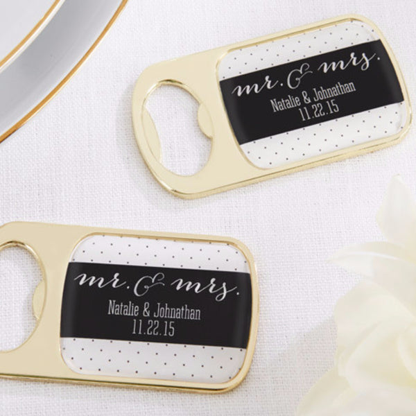 Mr. & Mrs. Gold Bottle Openers ( Set of 24)-Favors-Bottle Opener-Here Comes The Bling™