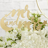 """Mr. & Mrs."" Moon and Stars Gold Acrylic Cake Topper-Cake Toppers-Here Comes The Bling™"