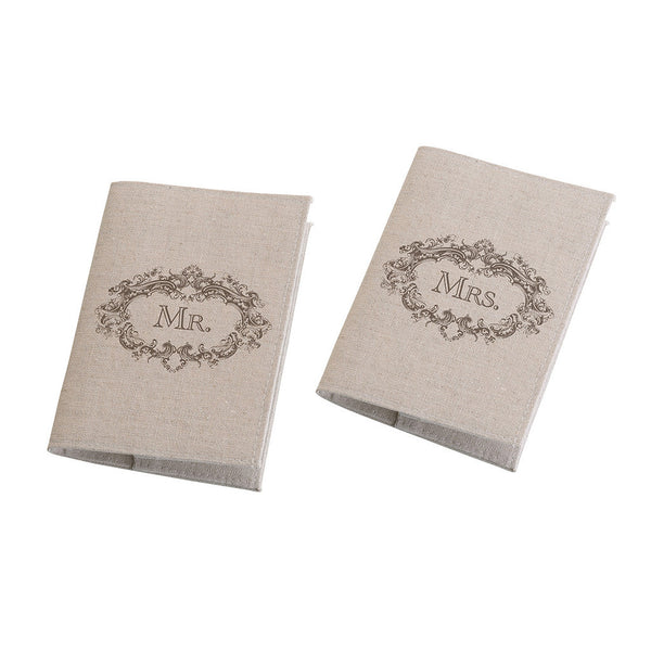 Mr. & Mrs. Passport Covers Tan-Passport Covers-Here Comes The Bling™