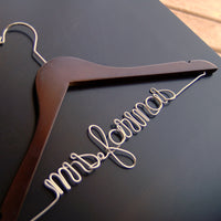 """Mrs."" Custom Script Bridal Hangers (Available in 5 Colors)-Hangers-Here Comes The Bling™"