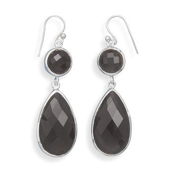 Multishape Faceted Smoky Quartz Drop French Wire Earrings-Earrings-Here Comes The Bling™