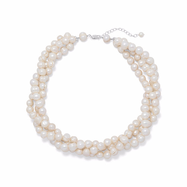 Multistrand Cultured Freshwater Pearl Necklace-Necklaces-Here Comes The Bling™