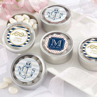 """Nautical Wedding"" Personalized Round Candy Tin (Set of 24)-Favors-Tin-Here Comes The Bling™"