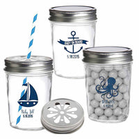 """Nautical Baby Shower Collection"" Personalized Printed Mason Jar (Set of 36)"