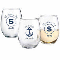 """The Future - Nautical"" Personalized 9 oz Stemless Wine Glass ( Sold in Cases of 36)"