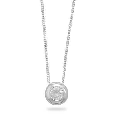 Necklace with Bezel Set CZ-Necklaces-Here Comes The Bling™