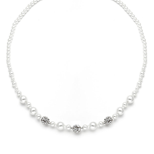 Necklace with Pearls & Rhinestone Fireballs-Necklaces-Here Comes The Bling™