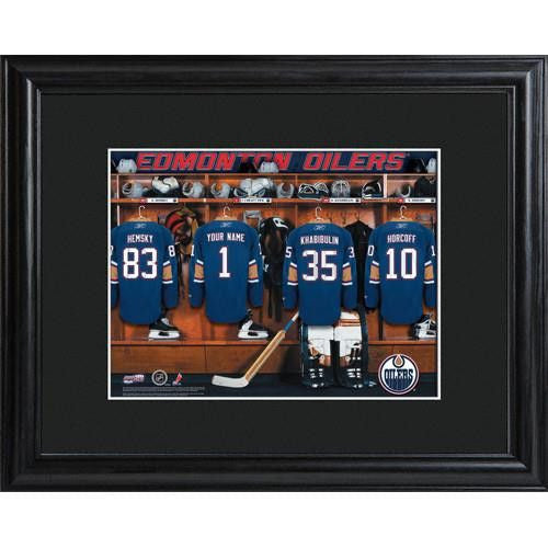NHL Locker Room Print in Wood Frame - OILERS-Art-Here Comes The Bling™