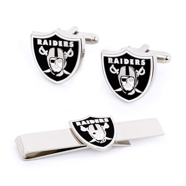 Oakland Raiders Cufflinks and Tie Bar Gift Set-Mens 3 Piece Gift Set-Here Comes The Bling™