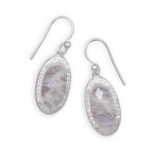 Oblong Rainbow Moonstone Earrings with CZ Edge-Earrings-Here Comes The Bling™