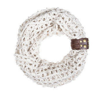 Off White Sonia Crochet Cowl Scarf-Scarf-Here Comes The Bling