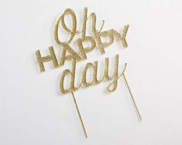"""Oh Happy Day"" Glitter Gold Acrylic Cake Topper-Cake Toppers-Here Comes The Bling™"