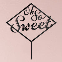 """Oh So Sweet"" Acrylic Wedding Cake Topper in Black-Cake Toppers-Here Comes The Bling™"