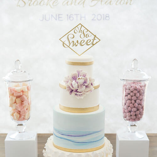 """Oh So Sweet"" Acrylic Wedding Cake Topper in Light Blue-Cake Toppers-Here Comes The Bling™"