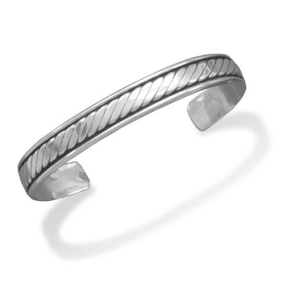 Oidized Men's Cuff Bracelet with Rope Design-Mens-Bracelets-Here Comes The Bling™