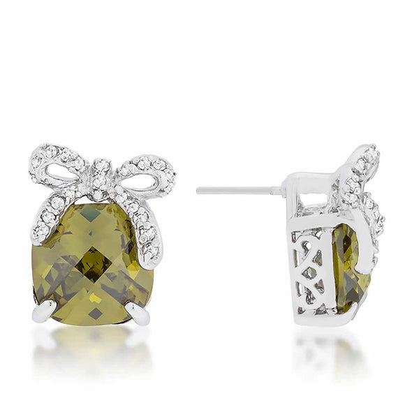 Olivine Drop Earrings with CZ Bow-Earrings-Here Comes The Bling