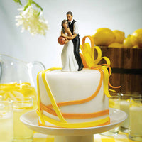 """One on One"" Basketball Ethnic Wedding Cake Topper ( Select From 7 Hair Colors )-Cake Toppers-Here Comes The Bling™"