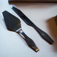 Onyx Black Modern Cake Serving Set Black-Serving Set-Here Comes The Bling™