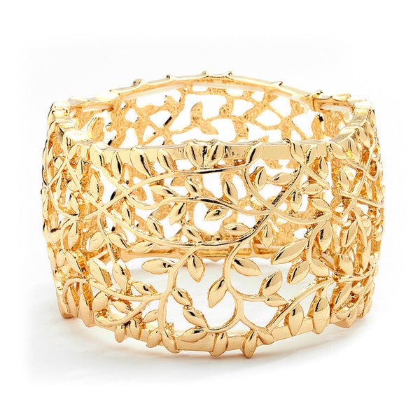 Open Vine Modern Gold Stretch Bracelet-Bracelets-Here Comes The Bling™