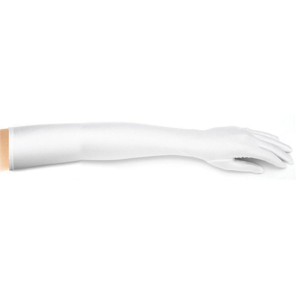 Opera Length Wedding or Prom Gloves - Matte Satin - White-Gloves-Here Comes The Bling™