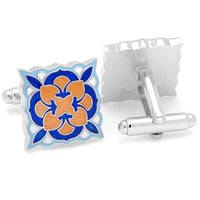 Orange and Blue Deco Bloom Cufflinks-Cufflinks-Here Comes The Bling™