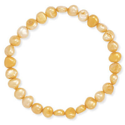 Orange Cultured Freshwater Pearl Stretch Bracelet-Bracelets-Here Comes The Bling™
