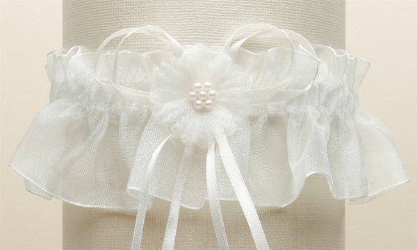 Organza Pearl Cluster Bridal Garter (Available in 4 Colors)-Garters-Here Comes The Bling™