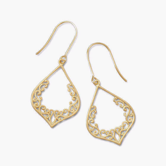 Ornate Brushed 18 Karat Gold Earrings-Earrings-Here Comes The Bling™
