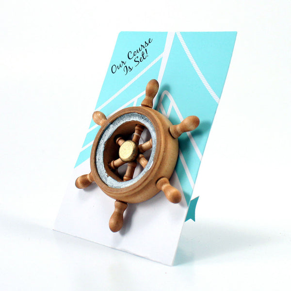 """Our Course is Set"" Boat Wheel Magnet Favor Gift Pack of 6-Favors-Magnets-Here Comes The Bling™"