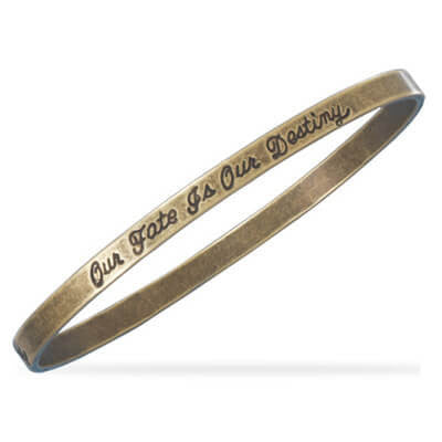 """Our Fate Is Our Destiny"" Brass Bangle-Bracelets-Here Comes The Bling™"