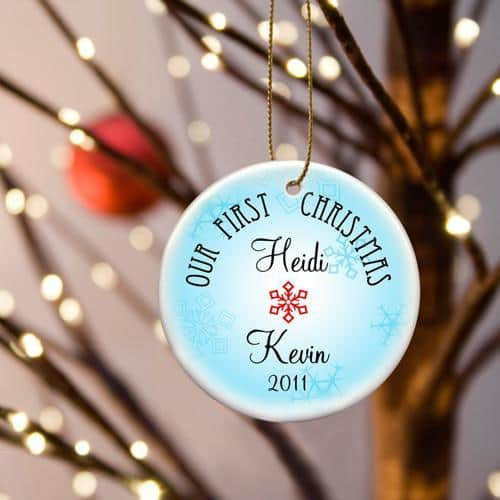 Our First Christmas Ceramic Ornament with Ice Blue Snow-Ornament-Here Comes The Bling™