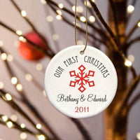 Our First Christmas Ceramic Ornament with Large Red Snowflake-Ornament-Here Comes The Bling™