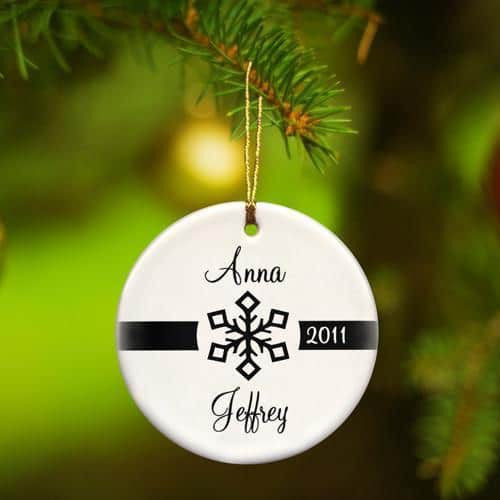 Our First Christmas Ceramic Ornament with Modern Snowflake-Ornament-Here Comes The Bling™