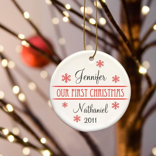 Our First Christmas Ceramic Ornament with Scattered Red Snowflakes-Christmas-Here Comes The Bling™