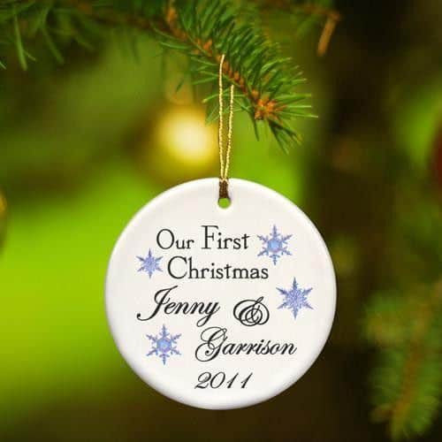Our First Christmas Ceramic Ornament with Scattered Snowflakes-Ornament-Here Comes The Bling™