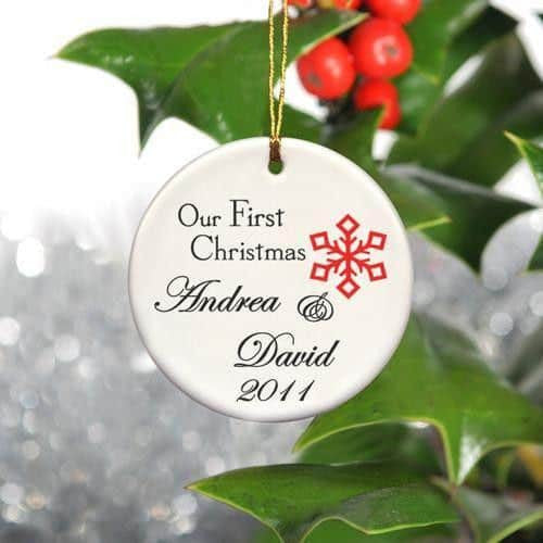 Our First Christmas Ceramic Ornament with Small Red Snowflake-Christmas-Here Comes The Bling™